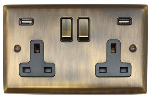 G&H SAB3910 Spectrum Plate Antique Bronze 2 Gang Double 13A Switched Plug Socket 2.1A USB